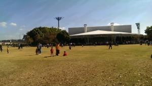 淀競馬場の芝生の広場
