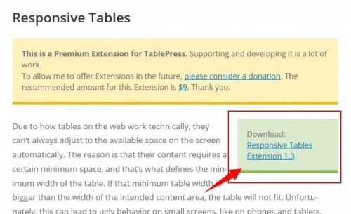 Responsive Tablesのダウンロード画面