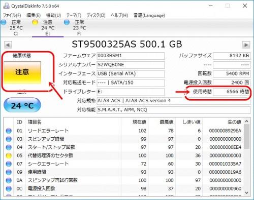 CrystalDiskInfo の使用画面