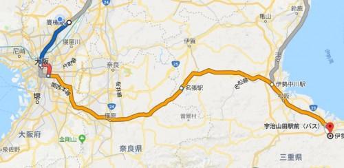 高槻駅から伊勢神宮へのルート 電車