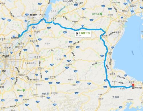 高槻から伊勢神宮へのルート
