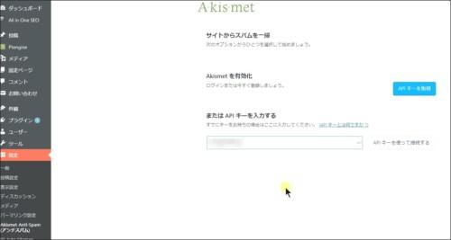Akismetの設定画面
