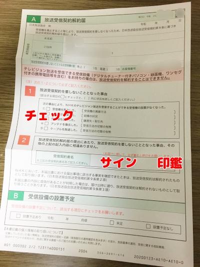 NHK解約届の中身