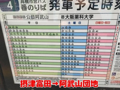 摂津富田から阿武山団地への時刻表